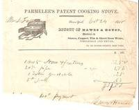 1838 PRINTED & HANDWRITTEN RECEIPT FOR PARMELEE'S PATENT COOKING STOVE: Bought of Hawes & House, Dealers in Stoves, Copper, Tin & Sheet Iron Ware. Hawes and House.