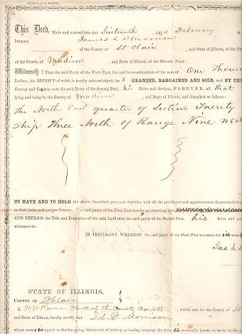 DEED FOR LAND IN MADISON COUNTY, ILLINOIS, SOLD BY JAMES L. MORRISON TO ISAAC HARKLEROAD FOR $1,000, SIGNED 16 FEBRUARY 1859. Madison County Illinois.