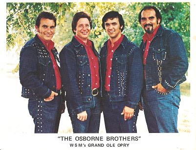 SIGNED, PROFESSIONAL PHOTOGRAPH OF THE OSBORNE BROTHERS (BOBBY, SONNY & ROBBY) AND DALE SLEDD:; WSM's Grand Ole Opry. Osborne Brothers.