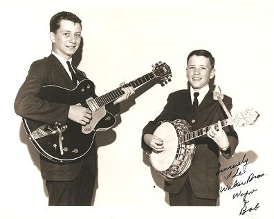 SIGNED, PROFESSIONAL PHOTOGRAPH OF THE WALKER BROTHERS, WAYNE & BOB:; American country entertainers. Walker Brothers.