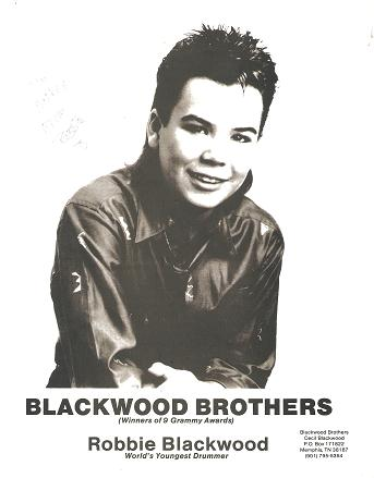 SIGNED, PROFESSIONAL PHOTOGRAPH OF ROBBIE BLACKWOOD, WORLD'S YOUNGEST DRUMMER:; Blackwood Brothers (Winners of 9 Grammy Awards). Robbie Blackwood.