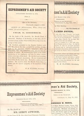 GROUP OF FOUR (4) DEATH NOTICES FOR MEMBERS OF THE EXPRESSMEN'S AID SOCIETY:; Each giving the name of the deceased, his position with American Express Company, cause of death, family, &c. American Express.