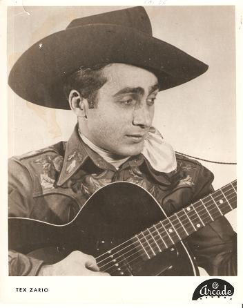 PROFESSIONAL PHOTOGRAPH OF TEX ZARIO IN EMBROIDERED WESTERN SHIRT AND COWBOY HAT, WITH HIS GUITAR. Tex Zario.