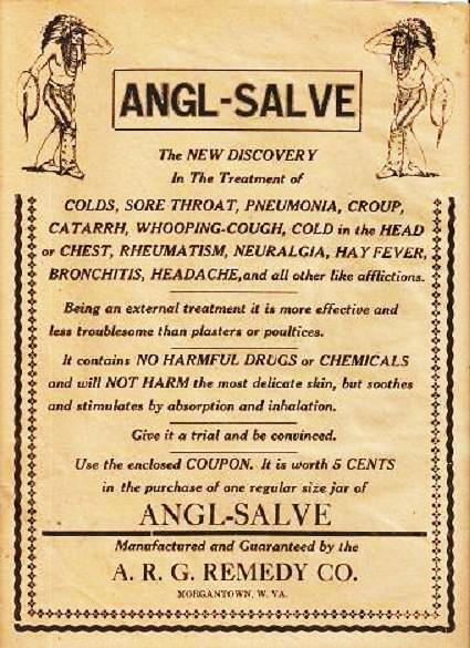 ANGL-SALVE -- The New Discovery... [broadside]:; In the Treatment of Colds, Sore Throat, Pneumonia, Croup, Catarrh, Whooping-Cough, Cold in the Head or Chest, Rheumatism, Neuralgia, Hay Fever, Bronchitis, Headache. Angl-Salve.