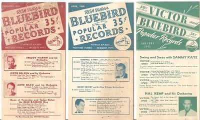 THREE (3) LEAFLETS FOR RCA VICTOR'S BLUEBIRD POPULAR RECORDS:; Newest Bands - Hottest Tunes - Biggest Hits. Bluebird Records.