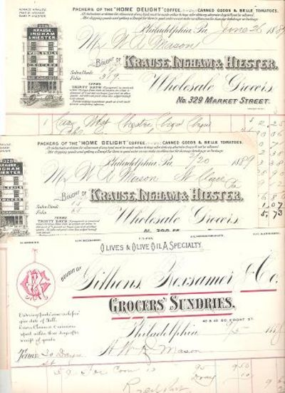GROUP OF THREE (3) RECEIPTS FOR VARIOUS FOODS PURCHASED BY W.R. MASON FROM TWO PHILADELPHIA FIRMS, 1888-1889. Philadelphia Pennsylvania.