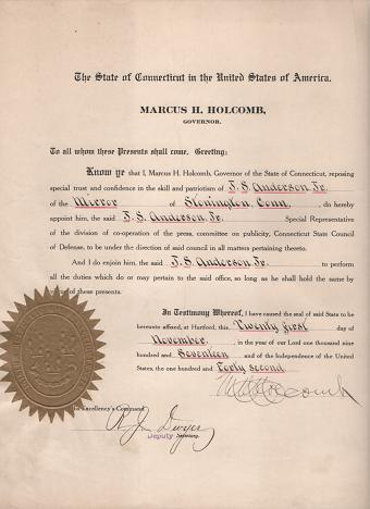 DOCUMENT SIGNED BY THE GOVERNOR OF CONNECTICUT, APPOINTING A JOURNALIST TO THE STATE COUNCIL OF DEFENSE, 21 November 1917. Marcus H. Connecticut / Holcomb.