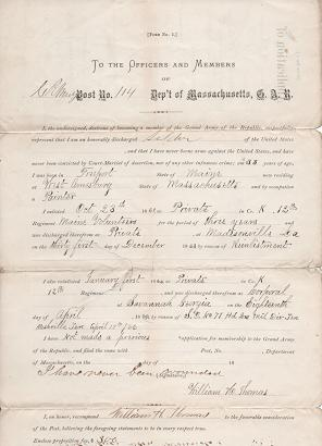 APPLICATION OF WILLIAM H. THOMAS, LATE CORPORAL, CO. K, 12th REG'T MAINE VOLS, FOR MEMBERSHIP IN THE GRAND ARMY OF THE REPUBLIC:; Printed form, accomplished by hand. Grand Army of the Republic.