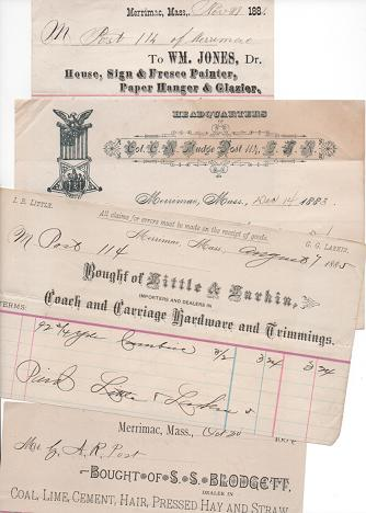 GROUP OF TEN (10) RECEIPTS ON VARIOUS BILLHEADS, WRITTEN AT MERRIMAC, MASSACHUSETTS, 1883-1910. Merrimac Massachusetts.
