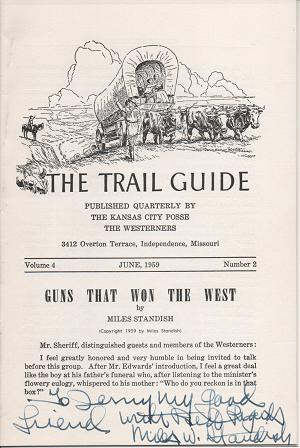 GUNS THAT WON THE WEST: in The Trail Guide, Volume 4, Number 2, June 1959. Miles Standish.