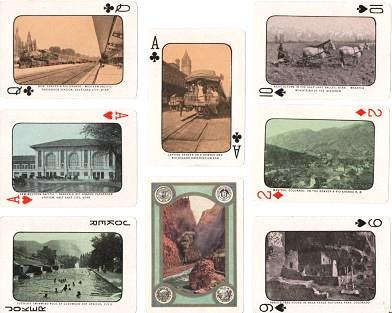 DECK OF 53 PLAYING CARDS WITH PHOTOGRAPHIC VIEWS OF COLORADO, UTAH, NEVADA, AND CALIFORNIA, IN A [mismatched] PICTORIAL BOX. Utah-Nevada-Colorado-California.