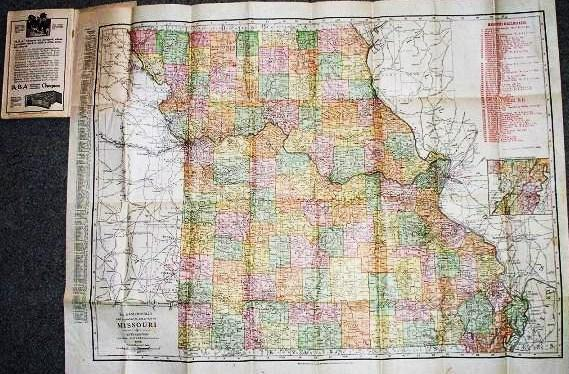 INDEXED POCKET MAP AND SHIPPERS' GUIDE OF MISSOURI:; Railroads and Electric Lines, Post Offices, Express, Telegraph and Mail Service, Counties, Congressional Townships, Cities, Towns, Villages, Islands, Lakes, Rivers, Creeks, Etc. Population According to the Latest Official Census. Missouri.