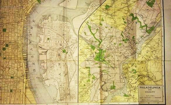 THE UP-TO-DATE VEST POCKET MAP OF PHILADELPHIA AND VICINITY:; By A.J. Robb. Philadelphia Pennsylvania.