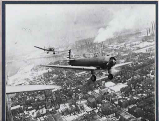 """[photograph] TRIBUTE TO THE WRIGHT BROTHERS OVER BOSTON, 1937:; """"This photograph was printed from the original negative."""" Wright Brothers."""