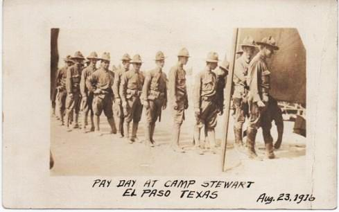 COMPANY G, 18TH PENNSYLVANIA INFANTRY: PAY DAY AT CAMP STEWART, EL PASO, TEXAS, AUG. 23, 1916. El Paso Texas.