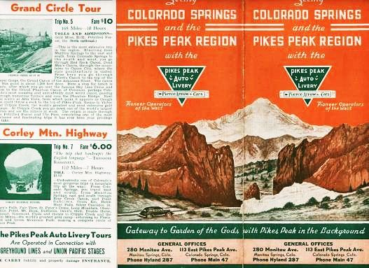 SEEING COLORADO SPRINGS AND THE PIKES PEAK REGION WITH THE PIKES PEAK AUTO LIVERY--PIERCE ARROW CARS: Pioneer Operators of the West. Colorado.