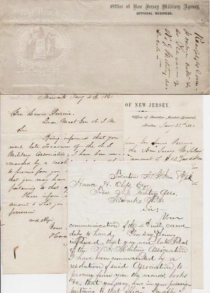 1861-1862 GROUP OF HANDWRITTEN LETTERS (ALsS) TO AND FROM GENERAL LEWIS PERRINE, QUARTERMASTER-GENERAL OF THE NEW JERSEY MILITIA. Lewis Perrine.