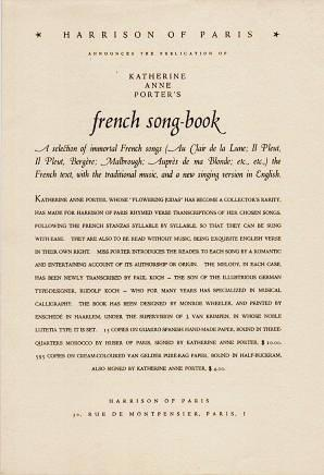 HARRISON OF PARIS ANNOUNCES THE PUBLICATION OF KATHERINE ANNE PORTER'S FRENCH SONG BOOK. Katherine Anne Porter.