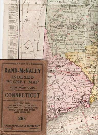 RAND-McNALLY INDEXED POCKET MAP AND AUTO ROAD GUIDE--CONNECTICUT:; Shippers' Guide, Railroads and Electric Lines, Counties, Municipal Townships, Cities, Towns, Villages, Post Offices, Lakes, Rivers, etc. Connecticut.