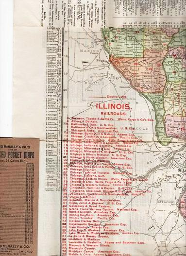 THE RAND-McNALLY VEST POCKET MAP OF ILLINOIS:; Showing all Counties, Cities, Towns, Railways, Lakes, Rivers, etc. Population is given according to the latest official census. [cover title]. Illinois.
