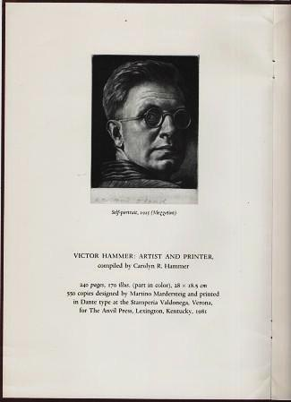 VICTOR HAMMER, ARTIST AND PRINTER [prospectus].; Compiled by Carolyn R. Hammer. Anvil Press.