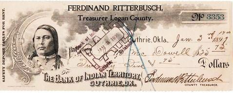 ENGRAVED CHECK DRAWN ON THE BANK OF INDIAN TERRITORY. Guthrie Indian Territory.