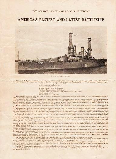 AMERICA'S FASTEST AND LATEST BATTLESHIP--U.S.S. SOUTH CAROLINA:; The Master, Mate and Pilot Supplement. Mates and Pilots American Association of Masters.