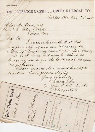 AUTOGRAPH LETTER SIGNED AND QUIT-CLAIM DEED FOR A RAILROAD RIGHT-OF- WAY IN ARAPAHOE COUNTY, COLORADO, 1895. Colorado / Florence, Cripple Creek Railroad.