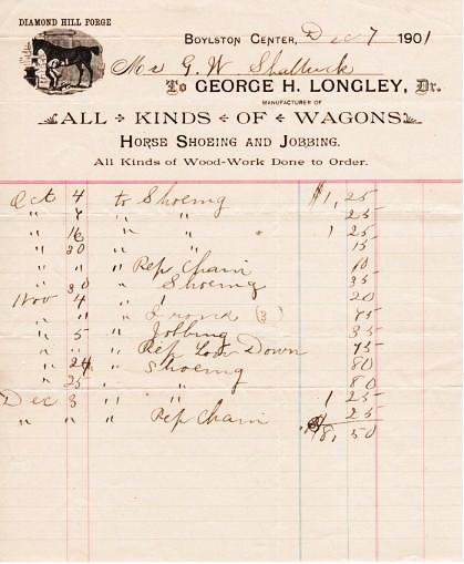 RECEIPT ON THE BILLHEAD OF DIAMOND HILL FORGE, MANUFACTURERS OF ALL KINDS OF WAGONS, HORSE SHOEING AND JOBBING. George H. Longley.