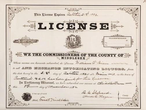 "TAVERN LICENSE - ISSUED BY THE COMMISSIONERS OF MIDDLESEX COUNTY ""TO SELL AND EXCHANGE INTOXICATING LIQUORS,"" dated November, 1882.; Expires October 31, 1883. Middletown Connecticut."