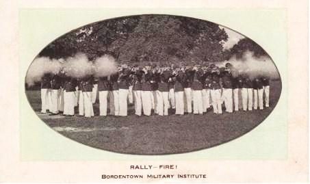 RALLY--FIRE! BORDENTOWN MILITARY INSTITUTE: Unused blotter with real-photo illustration on recto. Bordentown New Jersey.