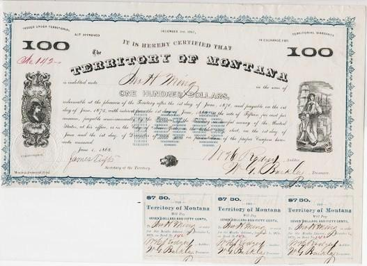 1868 TERRITORY OF MONTANA BOND AND COUPONS, SIGNED BY JAMES TUFTS, GOVERNOR OF MONTANA TERRITORY, AND BY OTHER TERRITORIAL OFFICIALS. Montana Territory.