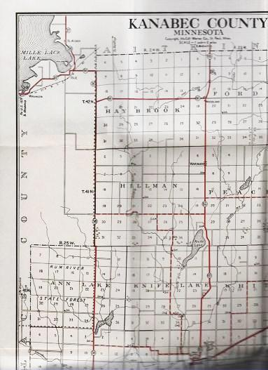 STANDARD MAP OF KANABEC COUNTY, MINNESOTA: Showing State Trunk Highways and other Improved Roads in Red. Kanabec County Minnesota.