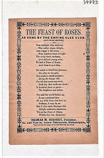 Song sheet: THE FEAST OF ROSES, AS SUNG BY THE EMPIRE GLEE CLUB. Feast of.