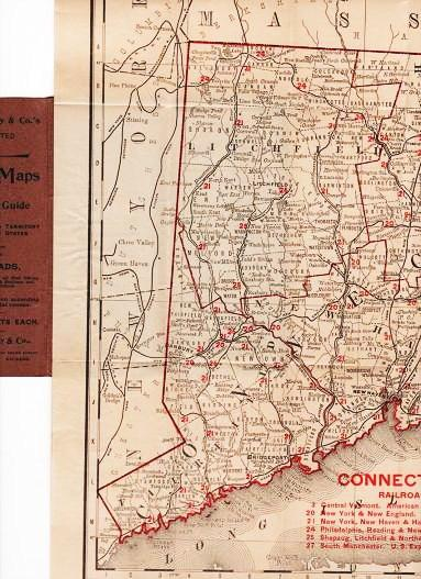 THE RAND-McNALLY VEST POCKET MAP OF CONNECTICUT AND RHODE ISLAND: Showing all Counties, Cities, Towns, Railways, Lakes, Rivers, etc. Connecticut, Rhode Island.