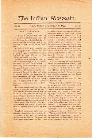 """""""THE INDIAN MOCCASIN,"""" Vol. 2, No. 5, May 1894. Afton / Hubbard Indian Territory, Jeremiah."""