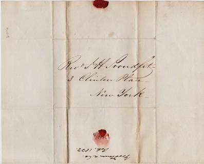 HANDWRITTEN LETTER (ALS) TO REV. J.H. PROUDFIT, 3 Clinton Place, New York, 30 Oct 1839. Goodman, Co.