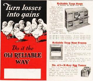 TURN LOSSES INTO GAINS--DO IT THE OLD RELIABLE WAY. Reliable Incubator, Brooder Company.
