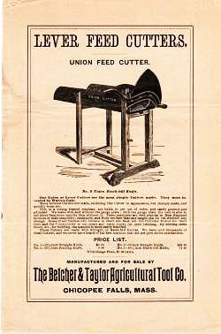 LEVER FEED CUTTERS ... Union Feed Cutter ... New York Feed Cutter .... Nonesuch Feed Cutter ... Victor Feed Cutter. Belcher, Taylor.