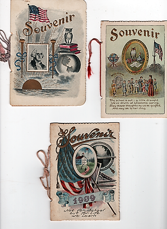 GROUP OF THREE ANNUAL SOUVENIRS, GIVEN TO PUPILS OF THE ONE-ROOM STAFFORD CENTER SCHOOL AT THE END OF THE 1901, 1907, AND 1909 SCHOOL YEARS. St. John Kansas.