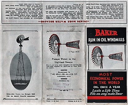BAKER RUN-IN-OIL WINDMILLS: Most Economical Power in the World. Heller-Aller Company.