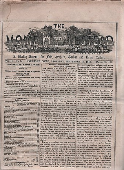 THE HOMESTEAD: A Weekly Journal for Field, Orchard, Garden and Home Culture. Vol. II, No. 51, September 10, 1857. William Clift, Henry A. Dyer T S. Gold, Mason C. Weld.