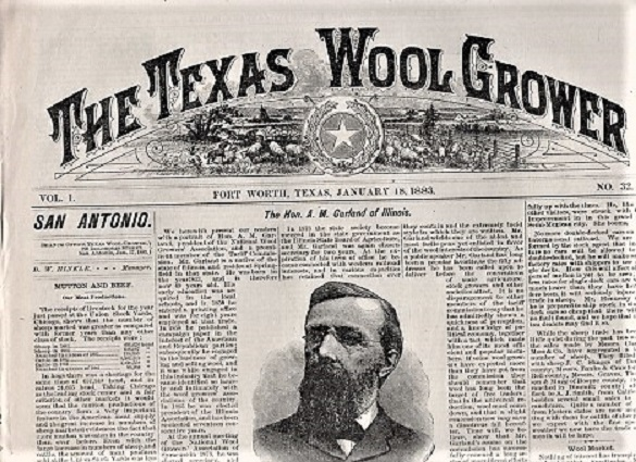 THE TEXAS WOOL GROWER, Vol. 1, No. 32, Fort Worth, Texas, January 18, 1883. H. L. Bentley.