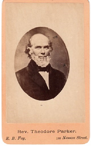CARTE DE VISITE OF MASSACHUSETTS TRANSCENDENTALIST & ABOLITIONIST THEODORE PARKER, PHOTOGRAPHED BY E.B. FAY. Theodore Parker.