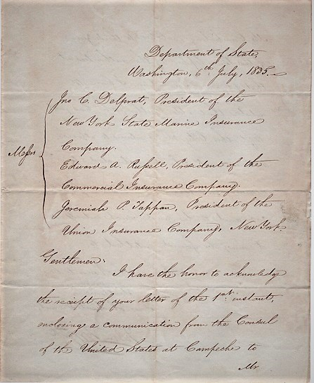 """HANDWRITTEN LETTER FROM THE SECRETARY OF STATE TO THE PRESIDENTS OF THREE INSURANCE COMPANIES, REGARDING SEIZURE OF THE BRIG """"OPHIR"""" AT CAMPECHE, MEXICO [ON MAY 1, 1835]:; Written less than eight months before the Battle of the Alamo. John Forsyth."""