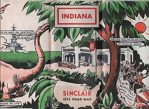SINCLAIR 1933 OFFICIAL ROAD MAP: INDIANA. Indiana.