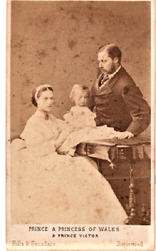 CARTE DE VISITE OF PRINCE ALBERT EDWARD [later Edward VII] AND PRINCESS ALEXANDRA AND PRINCE VICTOR, PHOTOGRAPHED BY HILLS & SAUNDERS OF ETON & OXFORD. Albert Edward and Alexandra.