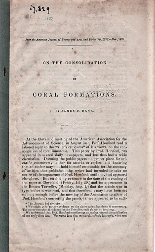 ON THE CONSOLIDATION OF CORAL FORMATIONS.; From the American Journal of Science and Arts, Nov. 1853. James D. Dana.
