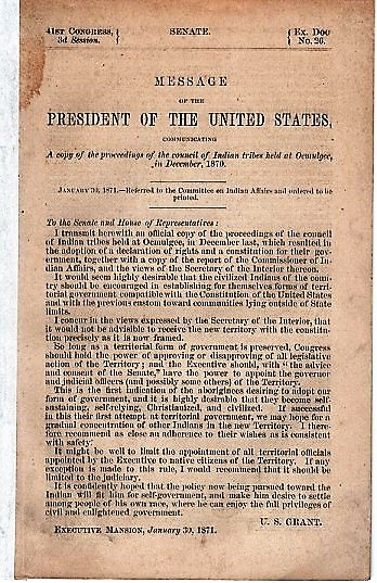 MESSAGE OF THE PRESIDENT OF THE UNITED STATES, COMMUNICATING A COPY OF THE PROCEEDINGS OF THE COUNCIL OF INDIAN TRIBES HELD AT OCMULGEE, IN DECEMBER, 1870.; 41st Congress, 3d Session, Senate, Ex. Coc. No. 26. Ulysses S. Grant.