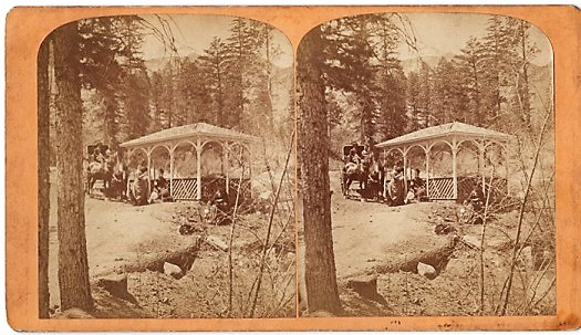 "STEREOSCOPIC VIEW OF ""LITTLE CHIEF"" IRON SPRING, ONE MILE FROM MANITOU HOUSE, MANITOU, COLORADO. Scenes on the Line of the Denver & Rio Grande Railway. Byron H. Colorado / Gurnsey."